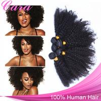 Mongolian Kinky Curly Hair Natural Color 4PCS CARA Hair Products Free Shipping Human Hair Weaves Kinky Curly Virgin Hair 6A