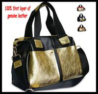 2014 color BLOCK genuine leather bags women's handbag fashion messenger bags Big bag Women Causal bags