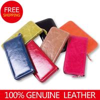 2014women wallet genuine leather zipper long women lady purse fashion clutch women wallet holder card holder