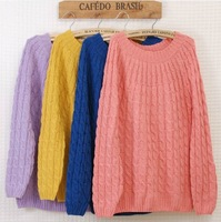 9 Solid Colors Winter Autumn Women's Preppy Style Twisted Hand Knitted Sweater Loose Blouse Pullover Sweater Cardigan Lady Tops