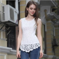 New 2014 Winter Dress Spring Summer Fashion Women Lined 100% Cotton Blouses Lace European American Sexy Sleeveless Tops T Shirt