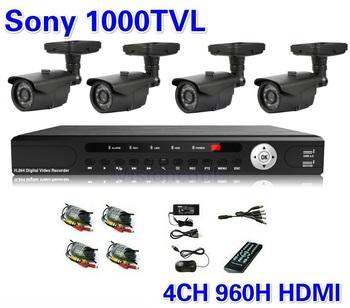 Sony 1000TVL 4CH HD Surveillance System Full D1 Security DVR CCTV Weatherproof Night Vision Surveillance Cameras CCTV System