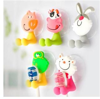 2014 very cute Cartoon sucker toothbrush holder / suction hooks /household items /bathroom/toothbrush rack/bathroom set 5pcs/lot(China (Mainland))