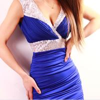 2014 Hot Sales Summer Ladies Sleeveless Sexy Mini Dress Deep V Neck Sequin Glitter Empire Waist Mini Party Pencil Dress