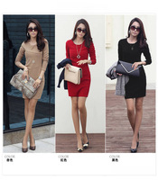 Free Shipping 2013 New Autumn and Winter Long-sleeve Dress Women's Slim Hip Patchwork Elegant One-piece OL Dress Big Size S~3XL
