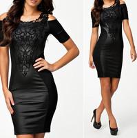 XXL Plus Size 2014 New Embroidery PU Leather Bodycon Dress Femininos Vestidos Women Work Wear Summer Casual Dress 9039
