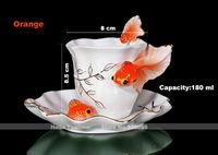 Fashion porcelain enamel goldfish porcelain coffee cup set,ceramic wedding gifts tea cups set,chinese milk mugs