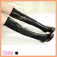 knee high 36cm waterproof gladiator women No genuine leather shoes boots for ladies no heel pumps long thigh high flat 3525876