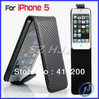 2013 Christmas Promotion~ Classic for Iphone 5 5S 5G Carbon Fiber Leather Case Vertical Flip Phone Bags & Cases