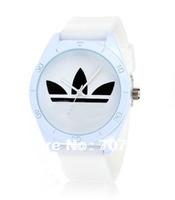 Free Shipping 2014 Hot Sale AD 3 Leaf Grass Fashion Sport Men WoMen Watch Clock Army Sport Style Silicone Bracelet Wrist Watches