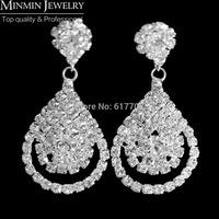 2014 New Free Shipping Teardrop Rhinestone Crystal Bridal Earrings for Women Wedding Jewelry Wedding Accessoies