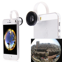 Universal 180 Clip Fisheye Fish eye Camera Lens For iphone 4S 5 5S 5c samsung galaxy S3 S4 S5  Circular shape phone camera