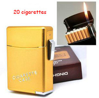 Best automatic metal cigarette case and lighter , accommodate 20 cigarettes, men's cigarette lighter box free shipping