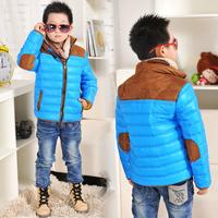 1pc Retail Hot Sale Kids Children Boy Winter Jacket Coat Down Parka Stripe Splice Zipper Baby Winter Outerwear Blue/Black/Claret