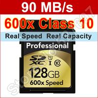 Brand Professional 600x 128GB SDXC UHS-I Flash Memory Card For Digital Camera Camcorder Car Navigator Free Shipping Wholesale