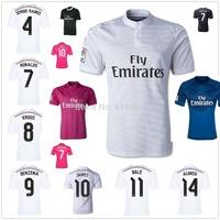 RAMOS JAMES KROOS 2015 Real Madrid home white away soccer jerseys Ronaldo BALE top thai quality football uniform embroidery logo