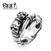 New Open Skull Hand Ring Stainless Steel Man's Fashion Jewelry Biker Punk Jewelry Free Shipping BR2048 US size