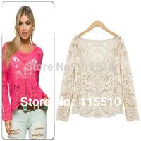 Women Semi Sheer Sleeve Embroidery Guipir Blusa Plus Size Lace Floral Crochet Blouse Shirt sheer blouses