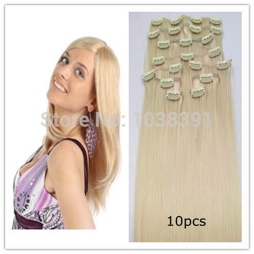 Synthetic Clip On Hair Extension hair clip in straiht flip extension hair 24 26 28 30 32 34Inch #613 Blonde 200g/set 10pcs/set(China (Mainland))