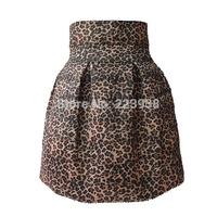 2014 New Women skirts Fashion Brand Leopard High Waist Ball Gown Winter short skirt Plus Size