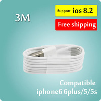 For IOS8 Free Shipping by DHL,3M 100pcs/For iPhone5S 5C Cable,USB Charger Cable for iPhone5S 5C