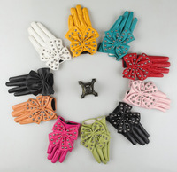 Women Lady Gloves GaGa Fashion Studded Big Super Large Bow Butterfly Rivet PU Leather Gloves M/L   12 Colors