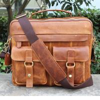 2015 Top Hot Sale Zipper men's briefcase 100% Guaranteed Real Genuine Leather Shoulder Messenger bags for Men vintage Wholesale