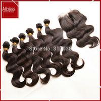 top 6A 1b black body wave Malaysian virgin hair 6 bundles+1 gift closure,Malaysian body wavy unprocessed 100% human hair weaves