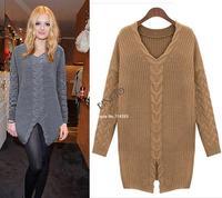 2014 new Women Long Sleeve Twist Pullover V-neck Knitwear Split Knitted Sweater Tops Jumper 19701
