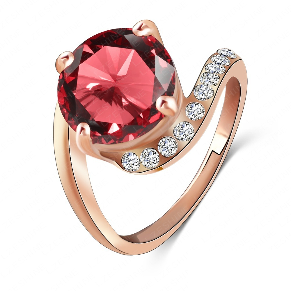 LZESHINE Brand Personalited Red Ruby Ring Real 18K Rose Gold Plated Genuine SWA Element Austrian Crystal