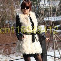 2015 fashion all-match black V-neck Sleeveless Faux Fox Fur Long Black Waistcoat Design Vest For Women  thick covered botton