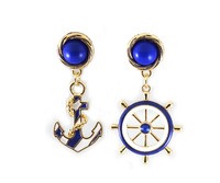 anchor navy style blue and white earrings E058