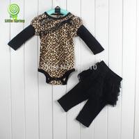 Baby sets  infant romper+pants leopard Baby's clothing long sleeves rompers lace pantskirt 2-piece suit ELZ-T0179A