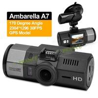 Big Promotion100% Original Ambarella A7 Car Camera DVR Recorder 1296P Full HD+GPS +Night Vision+170Degree+WDR+Car Plate Stamp