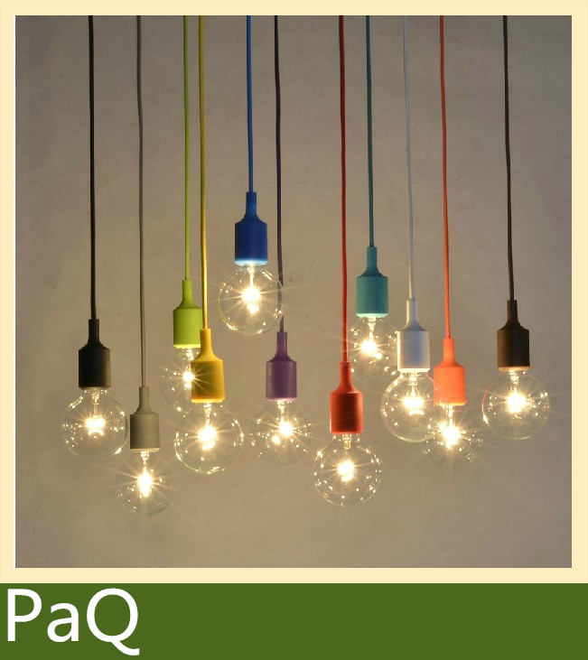 Muuto E27/E26 socket Chandelier lamp 1pcs light fixture Hanging color line Silicone holder pendant ~ NO bulb~(China (Mainland))
