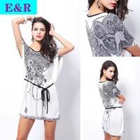 2014 Retail New Fashion Spring And summer  Ice Silk Dress Spend Big Oversized Bat Bohemian Sleeve Silk Sweatshirt T-shirts