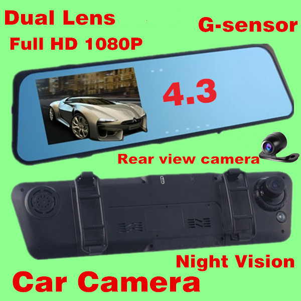 original Car Rearview Mirror Camera Recorder DVR Dual Lens 4.3' TFT LCD HD 1920x1080p Rear view camera 720P with G-sensor(China (Mainland))