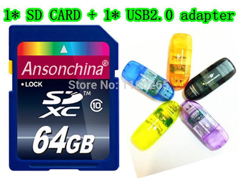 2014 Hot Sale class 10 SD Card 8GB 16GB SDHC 64GB SDXC Transflash USB memory TF Micro SD Card with usb reader / box(China (Mainland))