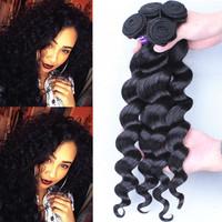 Sunny Queen hair products Peruvian Virgin Hair Loose Wave 3PCS Natural Black Peruvian Loose Curly 5A Top Grade Free Shipping