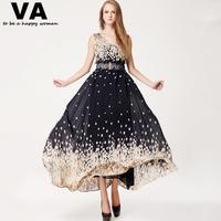 VA maxi dresses long summer chiffon dress v-neck sleeveless floral print tank dresses plus size xxl xl casual woman 2015 P00079