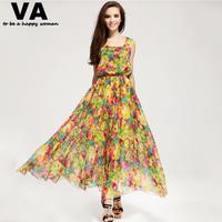 yellow floral print dress long maxi plus size XXXL XXL XL women's summer chiffon casual cheap clothing shop online P00076