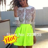New Arrival 2014 Women skirts Spring Summer Neon Green Skater Short Skirt Free Shipping F0052