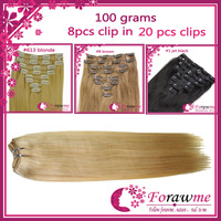 brazilian clip in Human hair extensions , straight clip in 8pcs 100g/set 16-22 inch color #613 lightest blonde Full head Forawme