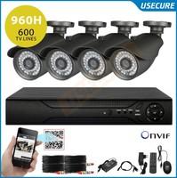 4 Channel 960H DVR with 600TVL IR Weatherproof Surveillance video CCTV Camera Kit Home DVR Recorder System+ Free Shipping