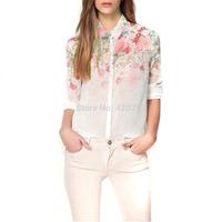 2014 New Casual Blusas Femininas For Women Fashion Chiffon Flower Print Shirt Blouse Plus Size Free Shipping