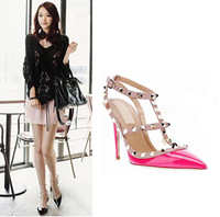 Hot Women Pumps Ladies Sexy Pointed Toe High Heels Fashion Buckle Studded Stiletto High Heel Sandals Shoes