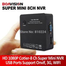h. 264 8ch seguridad mini casa nvr onvif portátil hd 1080p red de vídeo p2p soporte 3g y wi-fi entrada de audio 15 idiomas(China (Mainland))
