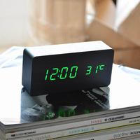 Sounds Control Alarm Clocks, Thermometer LED Digital Clock,Wood wooden Big Numbers Table Clock, Desktop Clock