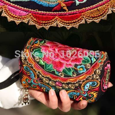 ricamo peonia fiore borsa piccola borse di tela per donne frizione vintage etnico ricamato cambiare borsa portafogli spedizione gratuita