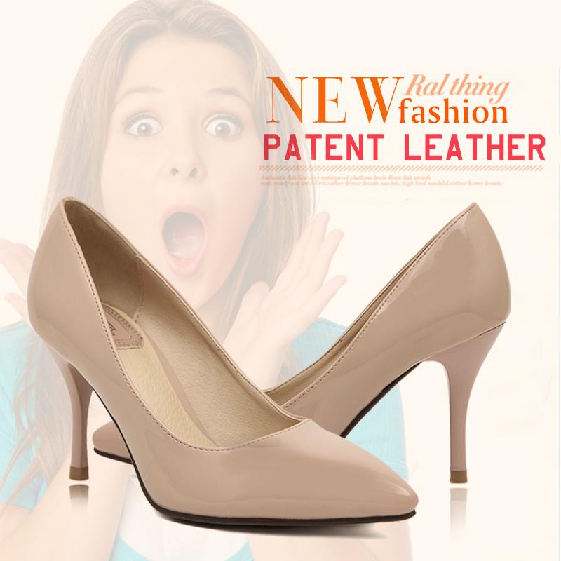 2014 women high heels pumps shoes patent leather brand designer ladies thin heels stilettos dress pumps shoes for women black nude(China (Mainland))